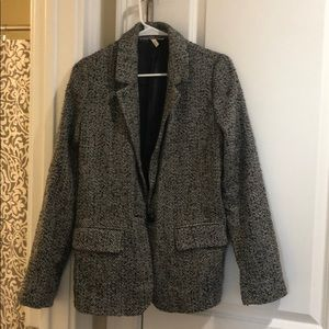 Nordstrom black and white wool blazer.